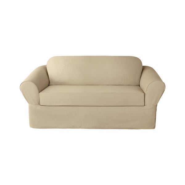 Sure Fit 6-ounce Cotton Twill Separate Seat Loveseat Slipcover