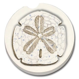 CounterArt Sand Dollar Absorbent Stone Car Coasters (Set of 2)