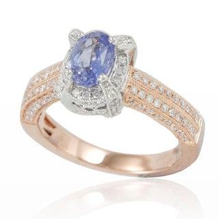 Suzy Levian 14K Two-Tone White Rose White Diamond Blue Sapphire Ring