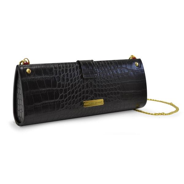 Adrienne Vittadini Bow Alligator Hard Case Clutch Handbag
