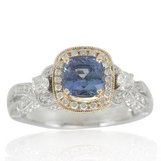 Suzy Levian 14K Two-Tone White Yellow Diamond Blue Sapphire Ring