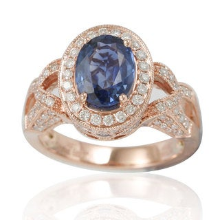 Suzy Levian 14K Two-Tone Rose Gold White Diamonds Ceylon Sapphire Ring