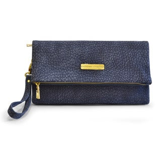 Adrienne Vittadini Faux Leather Foldover Clutch Handbag