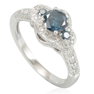 Suzy Levian 14k White Gold & Blue Diamond (1.34ct TDW) 3-Stone Pave Halo Bridal Engagement Ring
