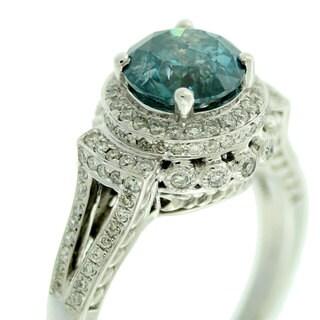 Suzy Levian 14k White Gold & Blue Diamond (2.54ct TDW) Round-Cut Bridal Engagement Ring
