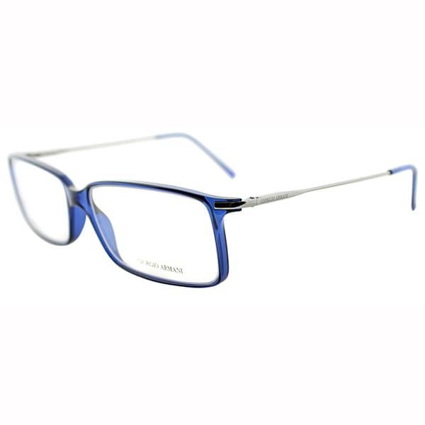 Giorgio Armani Unisex GA 636 13D Blue Plastic And Metal Rectangle Eyeglasses-56mm