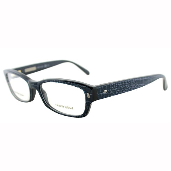 Giorgio Armani Unisex GA 890 XZY Croco Blue Plastic Rectangle Eyeglasses-45mm