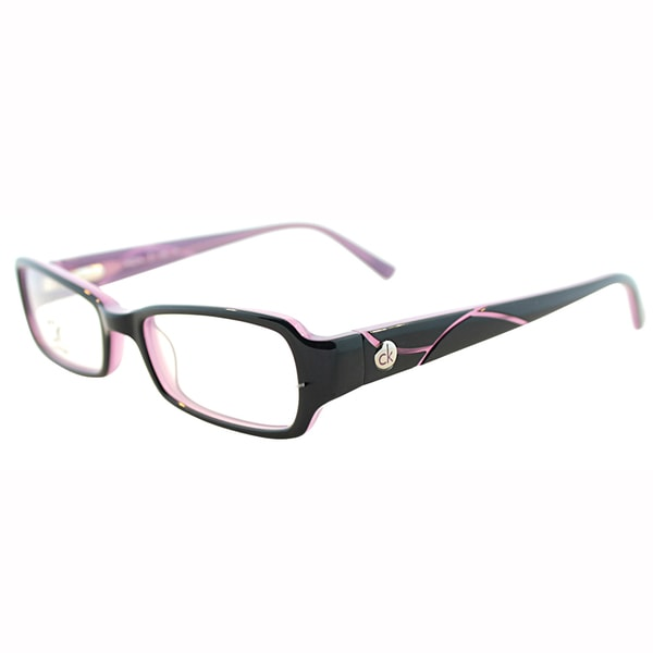 Calvin Klein Womens CK 5701 042 Black/Plum Rectangle Plastic Eyeglasses-46mm