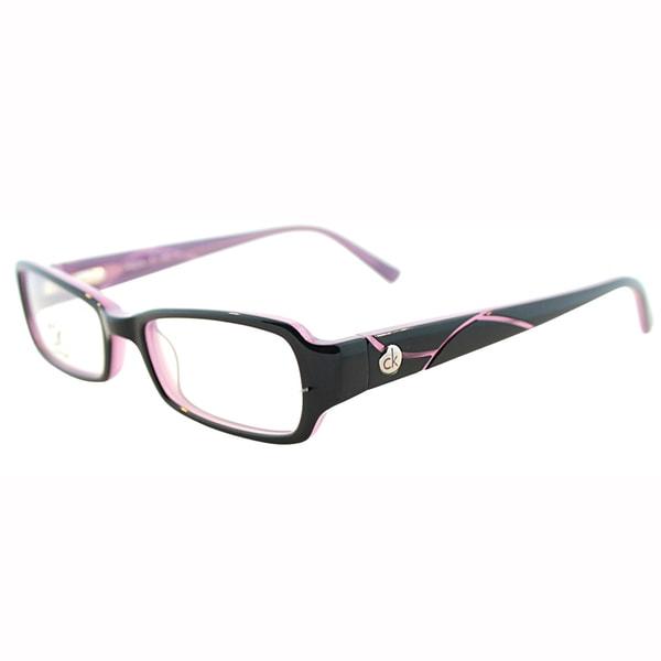 Calvin Klein Womens CK 5701 042 Black/Plum Rectangle Plastic Eyeglasses-46mm