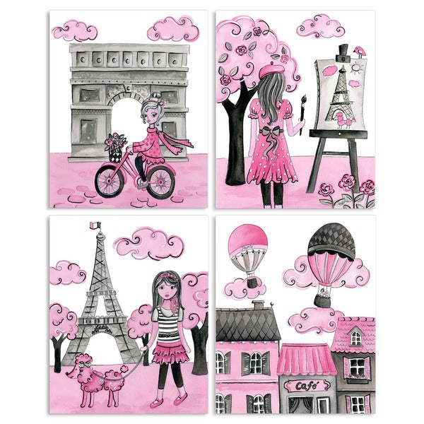 A Girl in Paris 4-piece Quadtych Wall Plaque Set