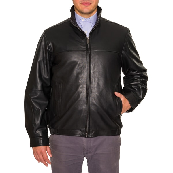 Perry Ellis Men's Leather Bomber Jacket