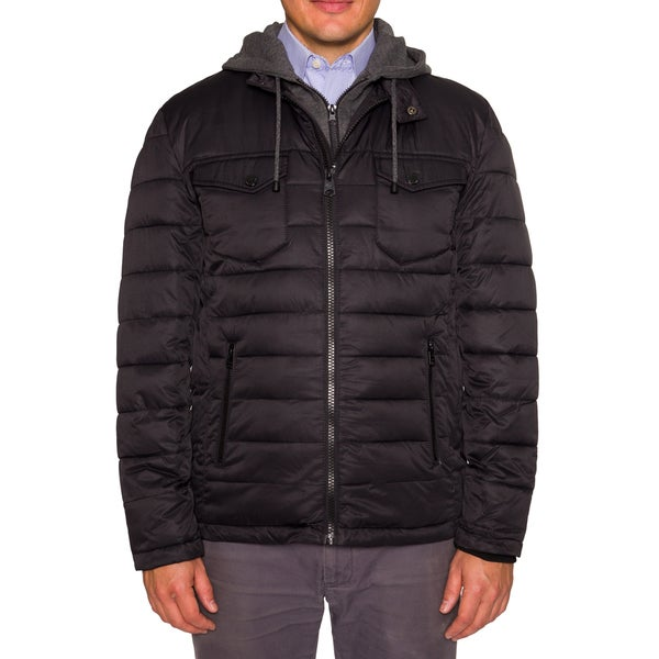 Buffalo Mens Quilted Puffer with Knit Hood