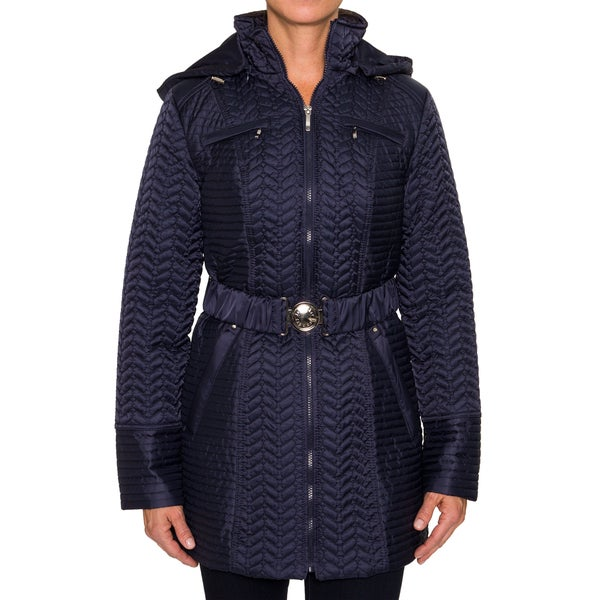 Laundry By Shelli Segal Quilted Jacket with Waist Belt