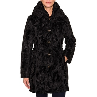 Laundry By Shelli Segal Reversible Faux Fur/Quilted Coat