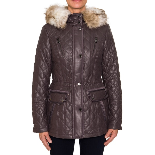 Laundry By Shelli Segal Quilted Jacket with Faux Fur Trim