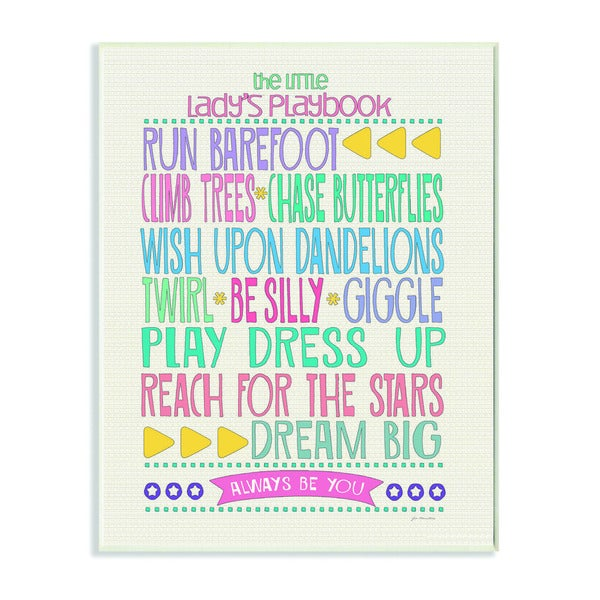 The Little Lady's Playbook Typography Art Wall Plaque