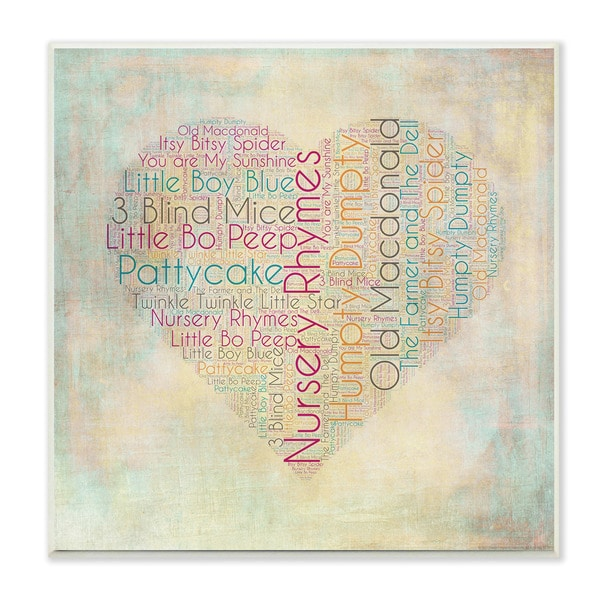 Nursery Rhymes Heart Textual Art Wall Plaque