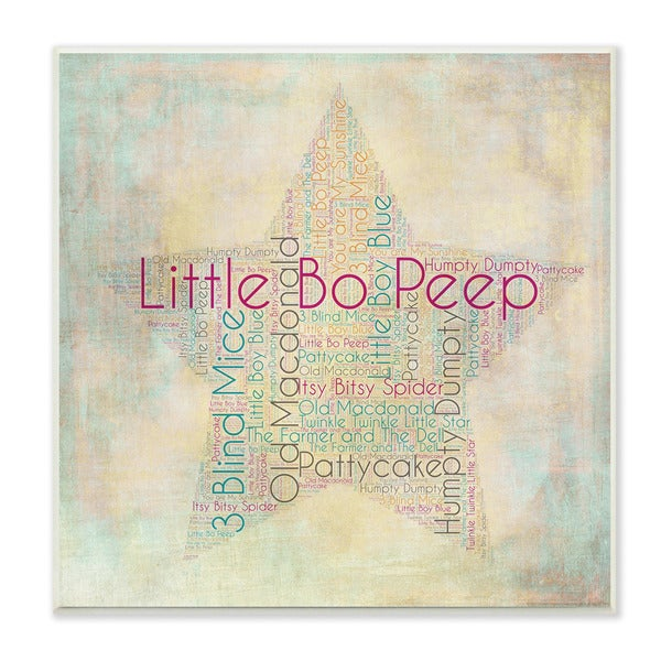 Nursery Rhymes Star Textual Art Wall Plaque