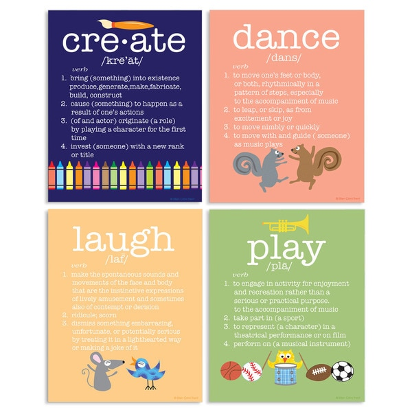 Create Dance Laugh Play Definitions 4-piece Wall Plaque Set