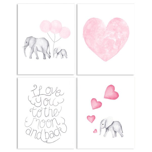 I Love You To The Moon And Back Hearts and Elephants 4-piece Wall Plaque Set
