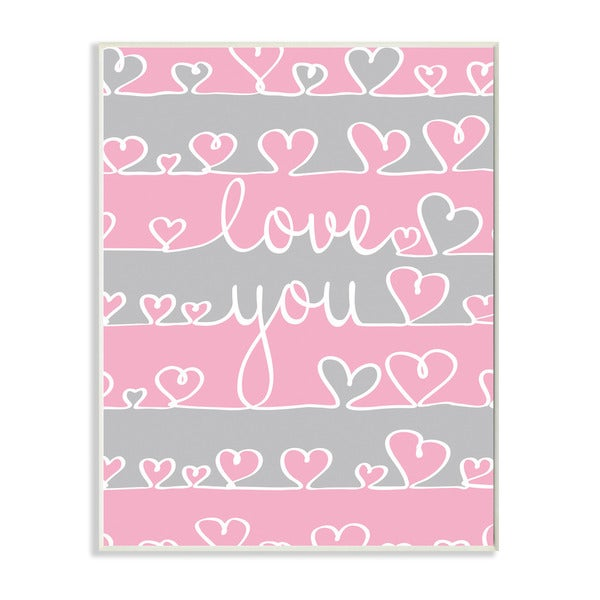 Love You Pink And Grey Hearts Textual Art Wall Plaque