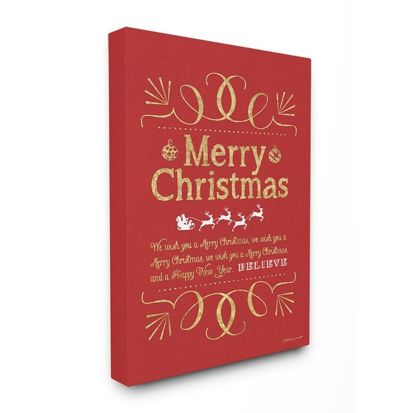 Merry Christmas Holiday Typography Art 16 x 20 Canvas