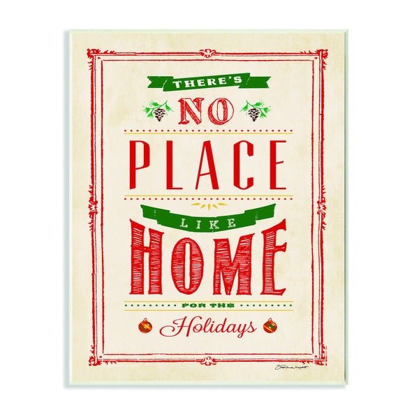 No Place Like Home for the Holidays Typography Art Wall Plaque