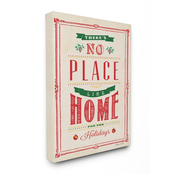 No Place Like Home for the Holidays Typography Art 16 x 20 Canvas