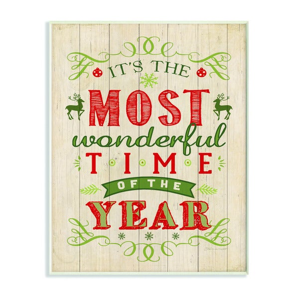 It's the Most Wonderful Time of the Year Holiday Typography Art Wall Plaque