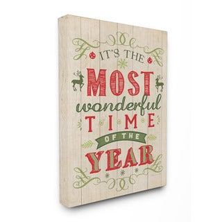 Stupell It's the Most Wonderful Time of the Year Holiday Typography Art 16 x 20 Canvas