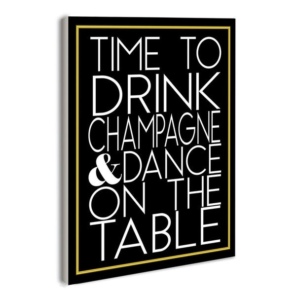 lulusimonSTUDIO Time to Drink Champagne Print Boutique Chic Wall Plaque
