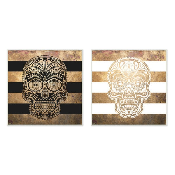 Sugar Skulls Boho Golds Graphic Wall Plaque 2-piece Set