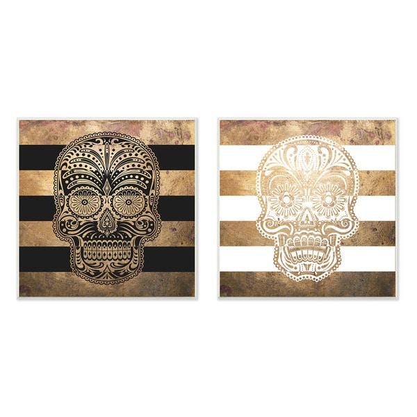 Sugar Skulls Boho Golds Graphic Wall Plaque 2-piece Set
