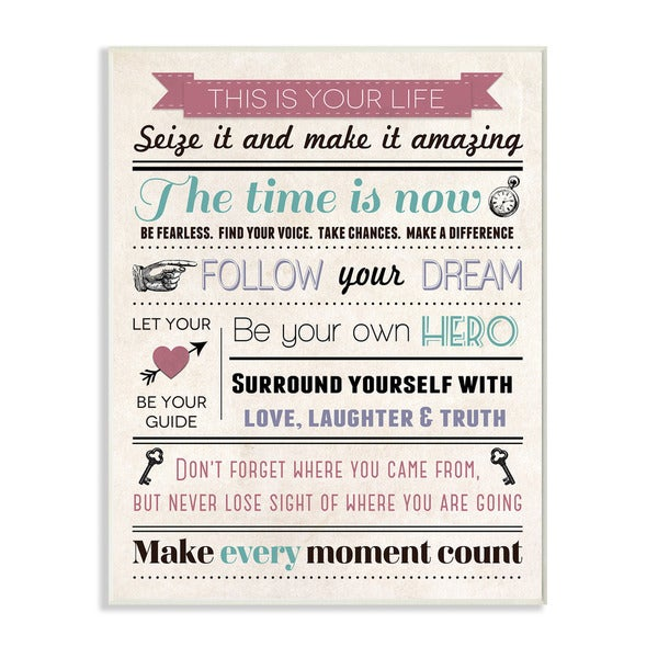 This is Your Life Infographic Style Inspirational Art Wall Plaque