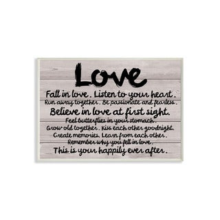 Stupell Love Typography Wood Plank Inspirational Art Wall Plaque