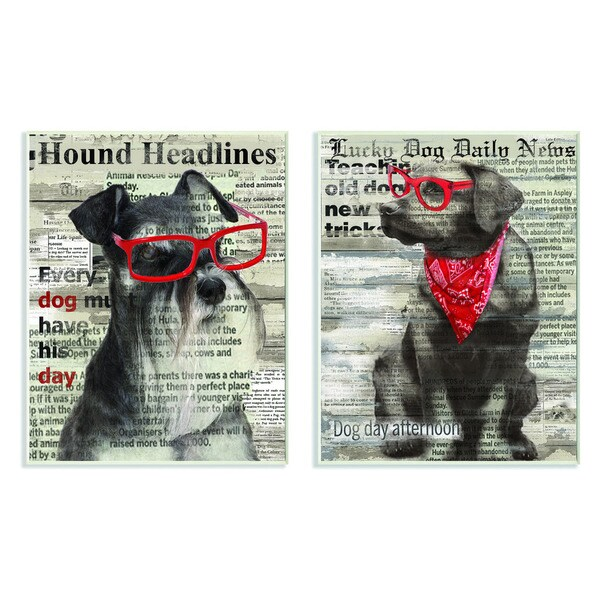 Dogs with Red Sunglasses on Newsprint 2-piece Set Wall Plaque