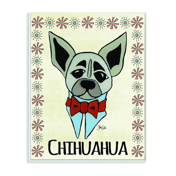 Whimsical Chihuahua Wearing Bow Tie Wall Plaque