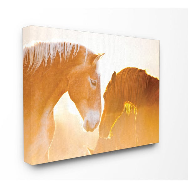 Horses Locking Eyes In Sepia Art 24 x 30 Canvas