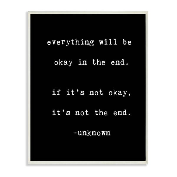 lulusimonSTUDIO Everything Will Be Okay in the End Wall Plaque Boutique Chic Wall Plaque