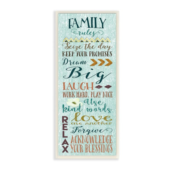 Family Rules Modern Typography Art Wall Plaque