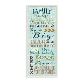 Stupell Family Rules Modern Typography Art Wall Plaque