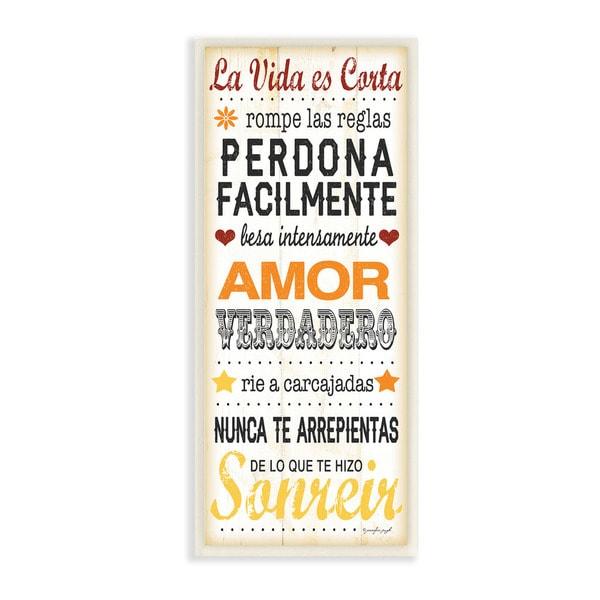 La Vida es Corta Life is Short Typography Art Wall Plaque