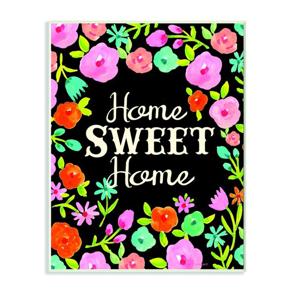 Home Sweet Home Floral Wreath Textual Art Wall Plaque