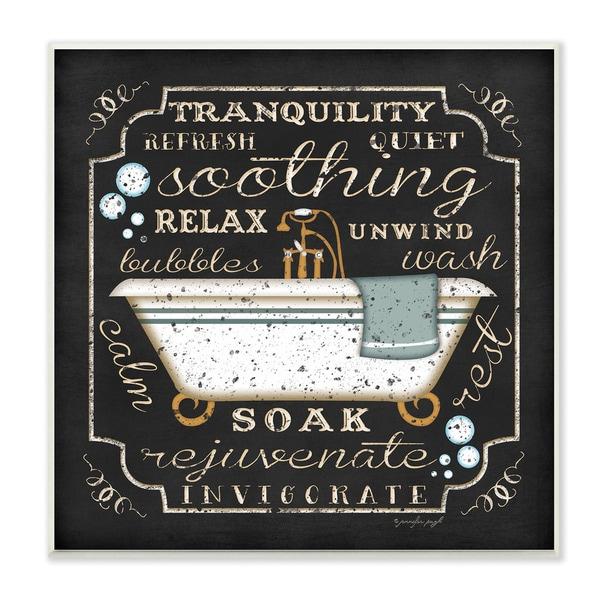 Tranquility Tub Icon Textual Bathroom Art Wall Plaque