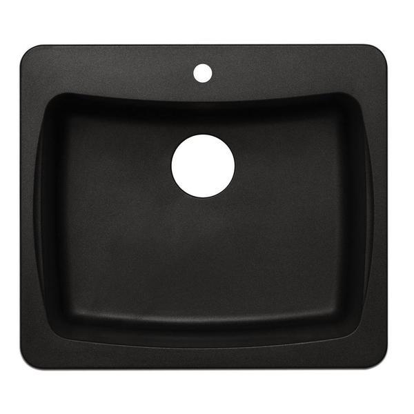 Dual Mount Granite-inch 1-Hole Single Bowl Kitchen Sink in Metallic Black