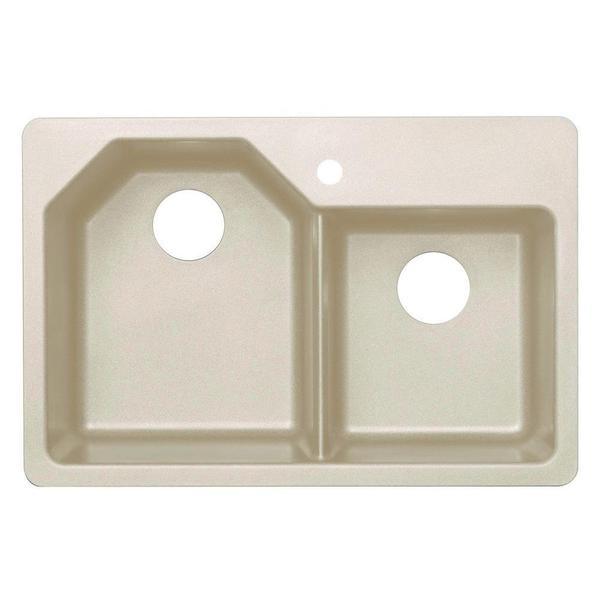 Dual Mount Granite 1-Hole Offset Double Bowl Kitchen Sink in Sahara Beige