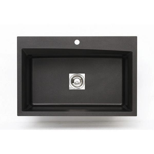 Dual Mount Granite 33-inch 1-Hole Large Single Bowl Kitchen Sink in Metallic Black