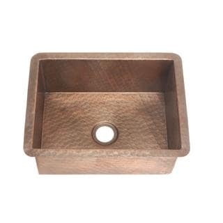 Self-Rimming/Undermount Weathered Copper 16-inch x 12-inch x6-inch 0-Hole Single Bowl Bar Sink