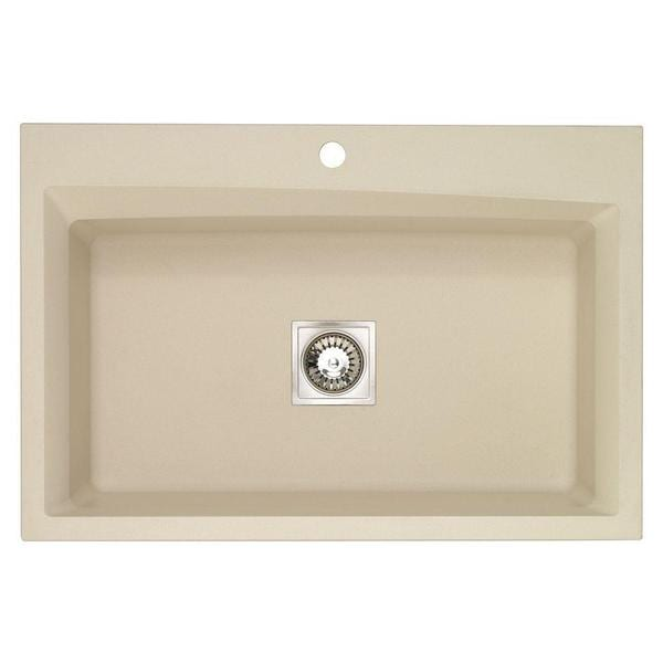 Dual Mount Granite-inch 1-Hole Large Single Bowl Kitchen Sink in Sahara Beige