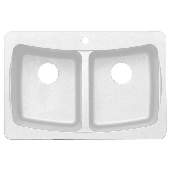 Dual Mount Granite 3-Hole Double Bowl Kitchen Sink in White